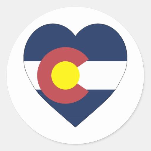 Colorado Flag Heart Classic Round Sticker