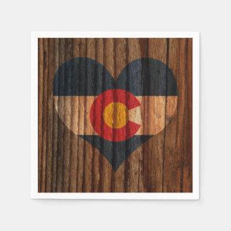 Colorado Flag Heart on Wood theme Paper Napkin