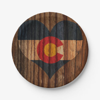 Colorado Flag Heart on Wood theme Paper Plate