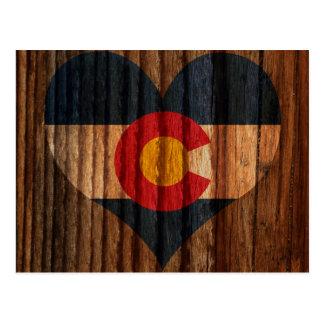 Colorado Flag Heart on Wood theme Postcard