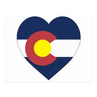 Colorado Flag Heart Postcard
