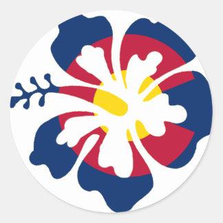 Colorado flag hibiscus flower classic round sticker