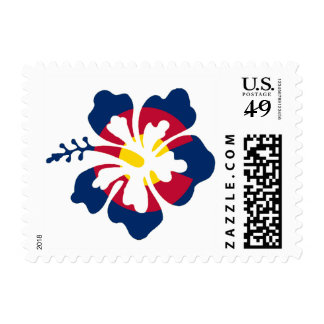 Colorado flag hibiscus flower postage stamps