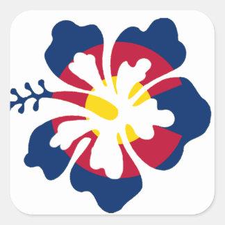 Colorado flag hibiscus flower square sticker