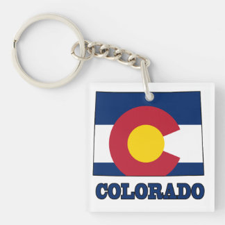 Colorado Flag in Map Double-Sided Square Acrylic Keychain