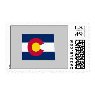 Colorado Flag Map Postage Stamp