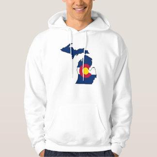 Colorado flag Michigan outline guys hoodie