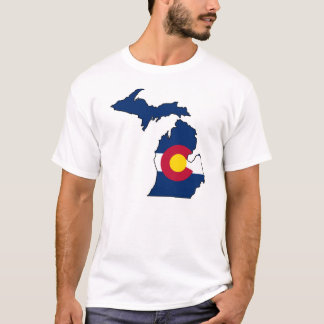 Colorado flag Michigan outline guys tshirt