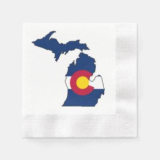Colorado flag Michigan outline paper napkins