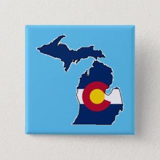 Colorado flag Michigan outline square button