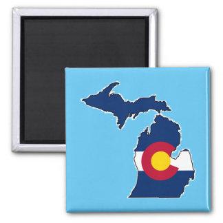 Colorado flag Michigan outline square magnet