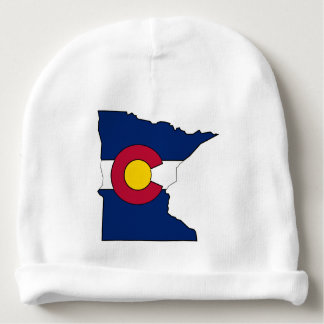 Colorado flag Minnesota outline baby beanie