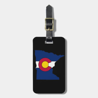 Colorado flag Minnesota outline custom luggage tag