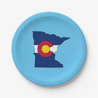 Colorado flag Minnesota outline paper plates