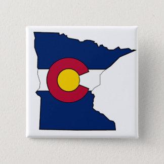 Colorado flag Minnesota outline square button