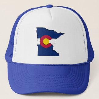 Colorado flag Minnesota outline trucker hat