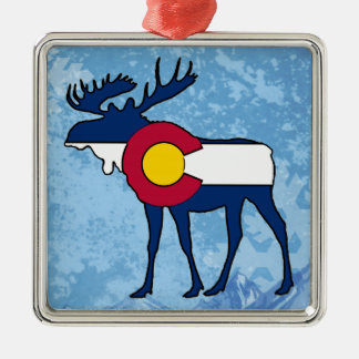 Colorado flag moose holiday square ornament