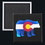 """Colorado flag neon bear square magnet<br><div class=""""desc"""">Colorado flag neon bear square magnet</div>"""
