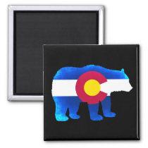 Colorado flag neon bear square magnet