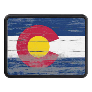 Colorado Flag Old Paint Trailer Hitch Covers