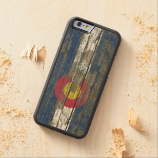 Colorado Flag on Rough Wood Boards Effect Carved Maple iPhone 6 Bumper Case