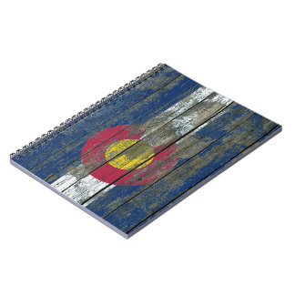Colorado Flag on Rough Wood Boards Effect Notebook