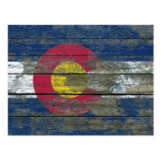 Colorado Flag on Rough Wood Boards Effect Postcard