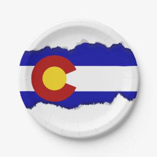 Colorado flag paper plate