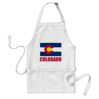 Colorado Flag Red Text Adult Apron