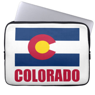 Colorado Flag Red Text Computer Sleeve