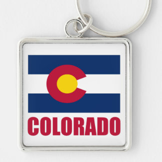 Colorado Flag Red Text Keychain