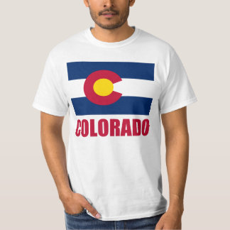 Colorado Flag Red Text T-shirts