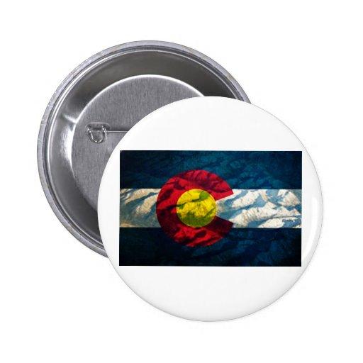Colorado flag Rock Mountains 2 Inch Round Button