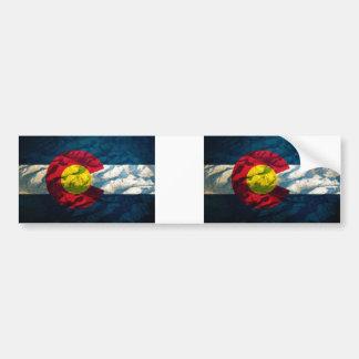 Colorado flag Rock Mountains Bumper Sticker
