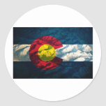 Colorado flag Rock Mountains Classic Round Sticker