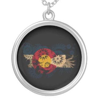 Colorado Flag Round Pendant Necklace