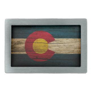Colorado Flag Rustic Old Wood Rectangular Belt Buckle