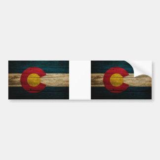 Colorado Flag Rustic Old Wood Bumper Sticker