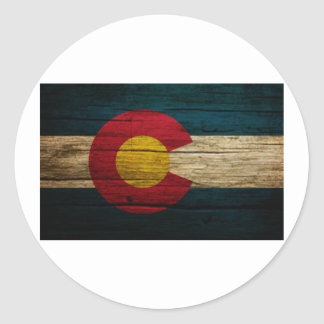 Colorado Flag Rustic Old Wood Classic Round Sticker