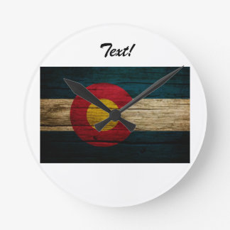Colorado Flag Rustic Old Wood Round Clock