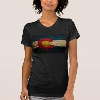 Colorado Flag Rustic Old Wood T Shirt
