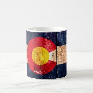 Colorado flag rustic wood look coffee mug