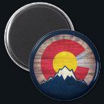 "Colorado flag rustic wood mountain magnet<br><div class=""desc"">Colorado flag rustic wood mountain magnet</div>"