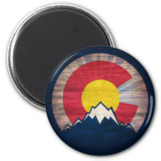 Colorado flag rustic wood mountain magnet
