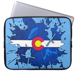Colorado flag ski splatter laptop sleeve