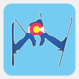 Colorado flag skier square stickers