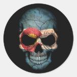 Colorado Flag Skull on Black Classic Round Sticker