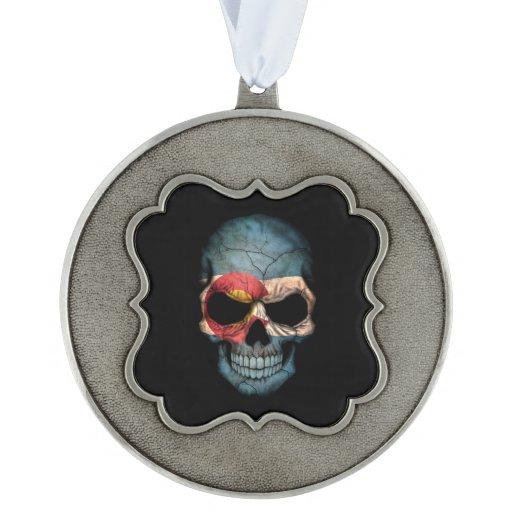 Colorado Flag Skull on Black Scalloped Ornament