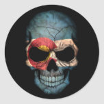 Colorado Flag Skull on Black Round Sticker