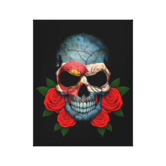 Colorado Flag Skull with Red Roses Canvas Print